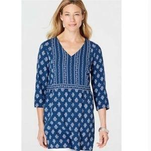 J. Jill Floral Blue & White Tunic 3/4 Sleeves